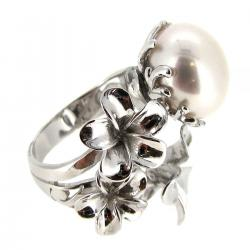 Sterling Silver Focal Filigree Ring White Freshwater Cultured Pearl 12mm - 13mm w/ 3 Flowers Size Free