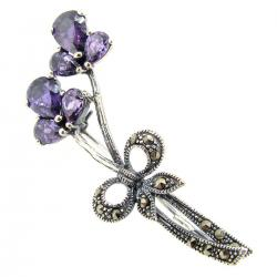 Sterling Silver Flower Ribbon Purple / Amethyst CZ Crystal Marcasite Brooch with Safety Pin 50mm