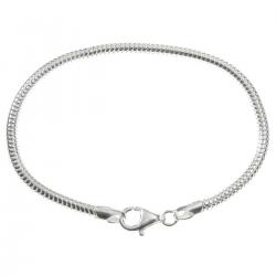 Sterling Silver Snake Cable Bracelet with Lobster Clasp for European Bead Charms, 7.5""