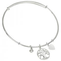 925 Sterling Silver Round Family Tree Dangle Charm Clear CZ Crystal Adjustable Cuff Bracelet Wristband Bangle