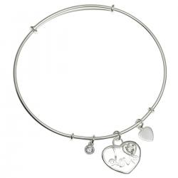 925 Sterling Silver Love Heart Dangle Charm Clear CZ Crystal Adjustable Cuff Bracelet Wristband...