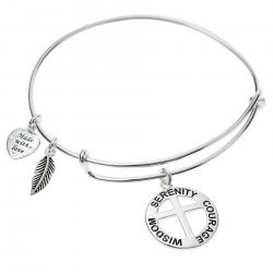 925 Sterling Silver Round Christ Cross Serenity Courage Wisdom Heart Feather Dangle Charm Adjustable Wire Bangle Bracelet