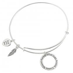 Qina C. Sterling Silver Karma What Goes Around Comes Around Heart Feather Dangle Charm Adjustable Wire Bangle Bracelet