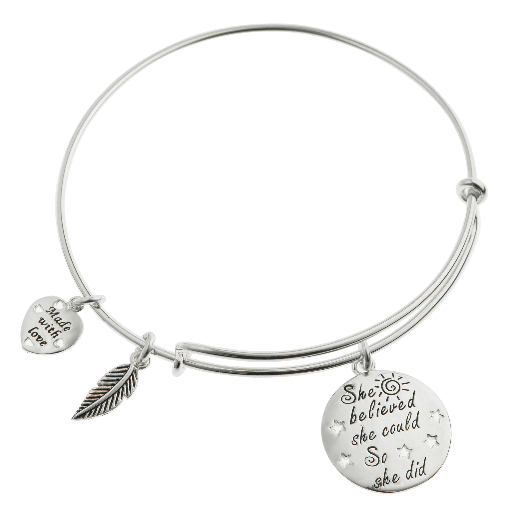 """Queenberry Qina C Sterling Silver """"she Believed She Could So"""
