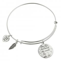"Qina C. Sterling Silver ""She Believed She Could so She Did"" Heart Feather Dangle Charm Adjustable Wire Bangle Bracelet"