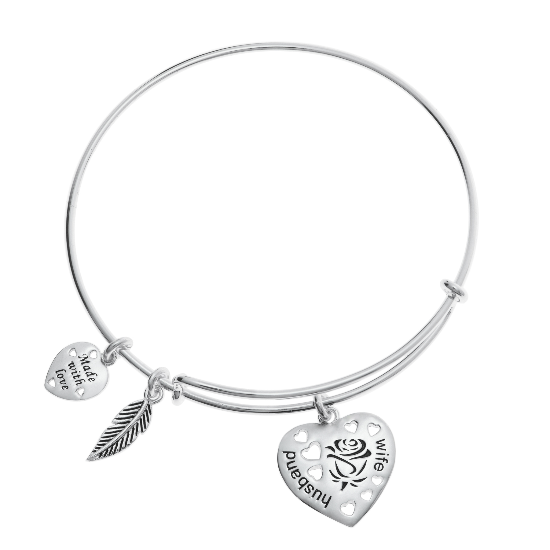 Queenberry Sterling Silver Rose Husband & Wife Heart Feather