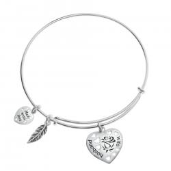 Sterling Silver Rose Husband & Wife Heart Feather Dangle Charm Adjustable Wire Bangle Bracelet