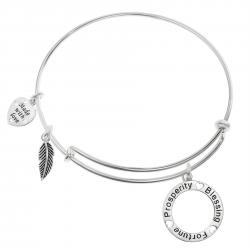 925 Sterling Silver Prosperity Blessing Fortune Heart Feather Dangle Charm Adjustable Wire Bangle Bracelet