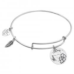 Sterling Silver Aunt Niece Heart Dangle Charm Adjustable Wire Bangle Bracelet