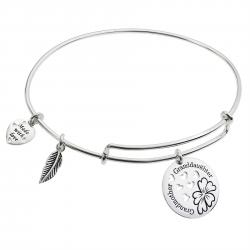 Sterling Silver Flower Grandmother & Granddaughter Heart Dangle Charm Adjustable Wire Bangle Bracelet