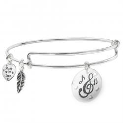 Sterling Silver Love Music Heart Feather Dangle Charm Expandable Bangle Bracelet
