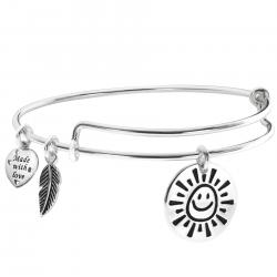 Sterling Silver My Sunshine Smiley Dangle Charm Expandable Bangle Bracelet
