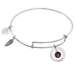 Sterling Silver Imitation Birthstone February  Charm Bangle Bar Adjustable Bracelet