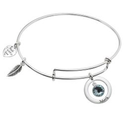 Sterling Silver Imitation Birthstone  March Charm Bangle Bar Adjustable Bracelet