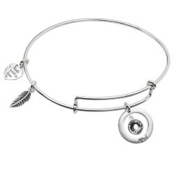 Sterling Silver Imitation Birthstone April Charm Bangle Bar Adjustable Bracelet