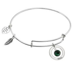 Sterling Silver Imitation Birthstone May Charm Bangle Bar Adjustable Bracelet