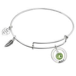 Sterling Silver Imitation Birthstone August Charm Bangle Bar Adjustable Bracelet