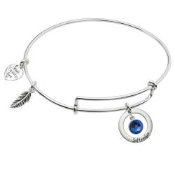 Sterling Silver Imitation Birthstone September Charm Bangle Bar Adjustable Bracelet