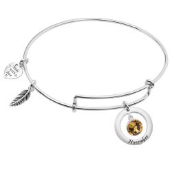 Sterling Silver Imitation Birthstone November Charm Bangle Bar Adjustable Bracelet