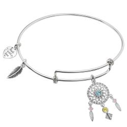 Rhodium on 925 Sterling Silver Dream Catcher Clear CZ Heart Feather Dangle Charm Adjustable Wire...