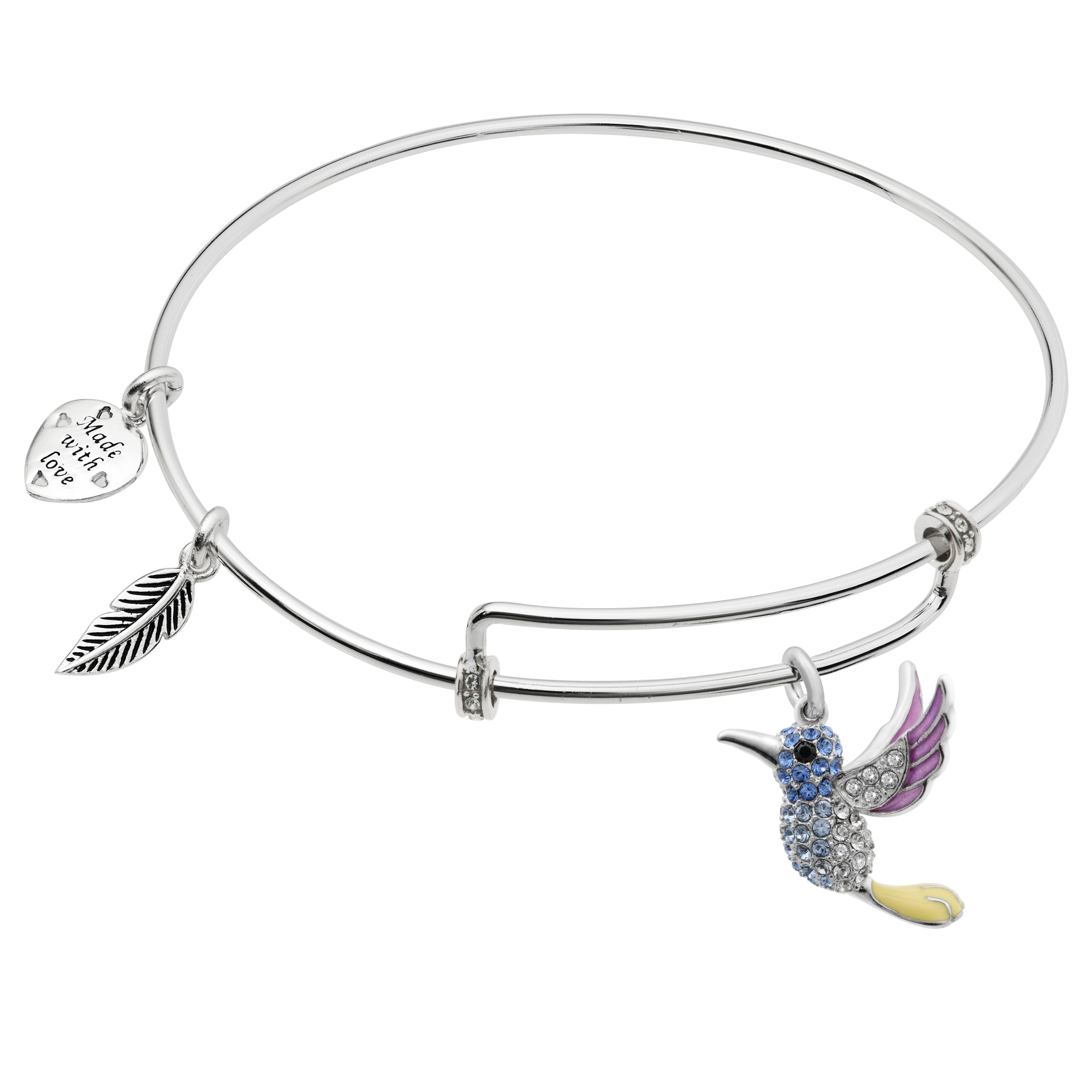 Queenberry.com: Rhodium On 925 Sterling Silver Hummingbird Enamel ...