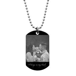 Personalized Photo Engraved Stainless Steel Custom Dog Tag w/ Dot Ball Chain Necklace 24""