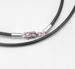 1x Sterling Silver Black leather cord 2mm choker necklace 22""