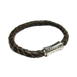 Stainless Steel Dark Brown Braided Leather Cord 6mm Magnetic Wristband Bracelets 8""