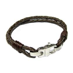 Stainless Steel Dark Brown Bolo Braided Leather Cord 4mm Lobster Clasp Bracelets 7.5""