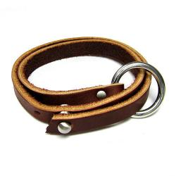 316L Stainless Steel 2 Rounds Brown Flat Leather Cord 10mm Nail Clasp Bracelet 8.5""