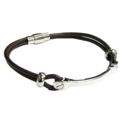 Stainless Steel ((316L) Brown Leather Cord 3mm Magnetic Wrist Round Bracelet 8""