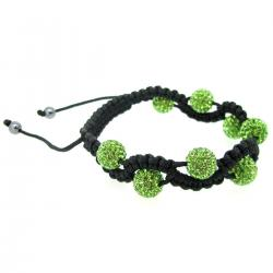 "Black Macrame Knotted Coral Shamballa Green Peridot Crystal Hematite Ball Bead Adjustable Wristband Bracelet 8"" Birthstone August"