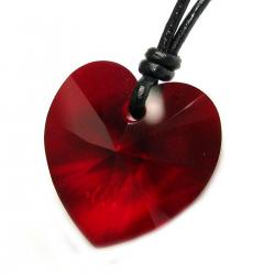 Swarovski Crystal Siam Heart Charm Pendant 18mm Black Waxed Cotton 1mm Necklace Adjustable
