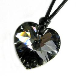 Swarovski Elements Crystal Silver-Night Love Heart  Pendant Adjustable Waxed Cotton Choker Necklace