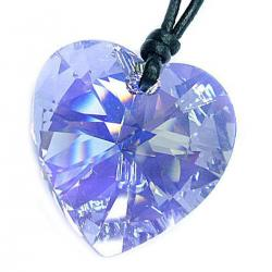 "Swarovski Crystal  Light Sapphire ab Heart Pendant 28mm Black Leather 1mm Choker Necklace 14"" 16"" 18"" 20"" 22"" 24"" Adjustable"