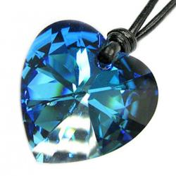 "Swarovski Crystal Bermuda Blue Heart Charm pendant 28mm Black leather 1mm Necklace 14"" 16"" 18"" 20"" 22"" 24"" Adjustable"
