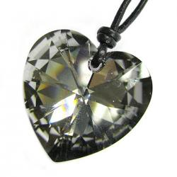 "Swarovski Crystal Silver Night Heart Charm pendant 28mm Sterling Silver Black leather 1mm Necklace 14"" 16"" 18"" 20"" 22"" 24"" Adjustable"
