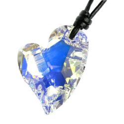 "Swarovski Crystal Clear AB Devoted 2 U Heart Love pendant 27mm Black leather 1mm Choker Necklace 14"" 16"" 18"" 20"" 22"" 24"" Adjustable"
