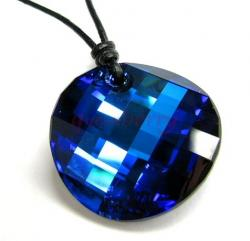 "Swarovski Crystal Bermuda Blue Twist Pendant 28mm Black leather 1mm Choker Necklace 14"" 16"" 18"" 20"" 22"" 24"" Adjustable"
