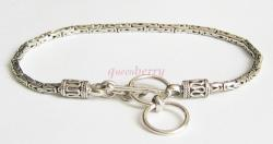 "Men's Sterling Silver Toggle Art Bracelet 7 1/2"" - 8"""