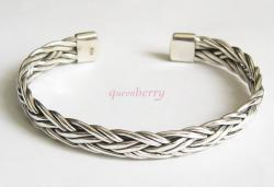 Simplicity Men's SILVER Art BRACLET BANGLE CUFF Bali
