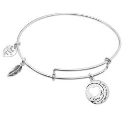 Sterling Silver I Love You to the Moon & Back Heart Leaf Dangle Charm Adjustable Wire Bangle Bracelet