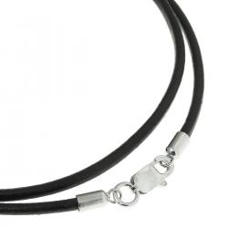 "Rhodium-plated Sterling Silver Black Leather Cord 2mm Choker Necklace 20"" w/ Italian Lobster Clasp"