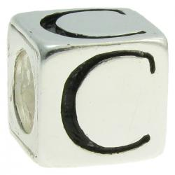 "Sterling Silver Dice Cube Letter ""C"" Bead Charm for  Pandora Troll Biagi Chamilia"