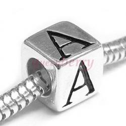 "Sterling Silver Dice Cube Letter ""A"" Bead Charm for  Pandora Troll Biagi Chamilia"