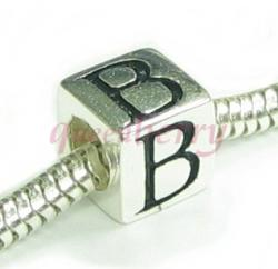 "Sterling Silver Dice Cube Letter ""B"" Bead Charm for  Pandora Troll Biagi Chamilia"