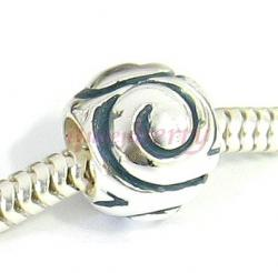 Sterling Silver Round Swirl Bead Charm for  Pandora Troll Biagi Chamilia European Jewelry