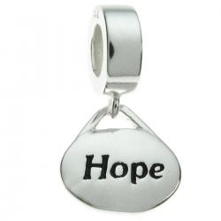 "1x Sterling Silver Oval ""Hope"" Dangle Bead Charm for Pandora Troll  Chamilia Biagi European Jewelry"