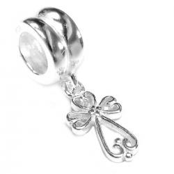 .925 Sterling Silver Little Filigree Heart Cross Dangle Bead for European Charm Bracelets