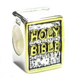 14k gold 925 Sterling Silver HOLY BIBLE Cross Inspirational Bead for Pandora European Bead charm Bracelets
